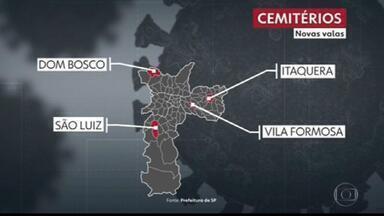 Prefeitura de São Paulo anuncia abertura de 600 valas por dia na cidade - Cemitérios São Luis, Itaquera, Dom Bosco e Vila Formosa terão espaços abertos por agentes a partir de hoje.