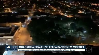 Quadrilha ataca bancos em Mococa, no interior de São Paulo - Uma pessoa ficou ferida