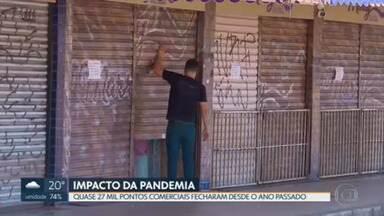 Quase 27 mil lojas fecharam desde o ano passado, no DF - Setores de comércio e serviços são os mais impactados pela pandemia de Covid-19. Empresários tentam se adaptar e o governo tenta dar apoio ao setor produtivo.