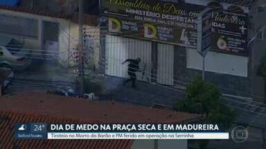 Moradores da Praça Seca e Madureira tiveram uma sexta-feira violenta - Tiroteios assustam no Morro da Barão e no Morro da Serrinha. Policial militar ficou ferido durante operação e um agente escapou por pouco quando uma bala bateu num poste.