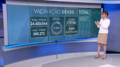 Brasil aplicou ao menos uma dose de vacina em mais de 24,4 milhões - O número representa 11,54% da população brasileira.