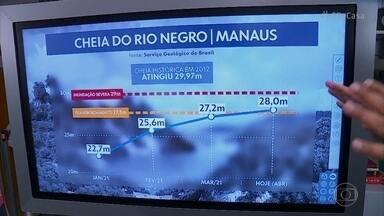 Rio Negro pode atingir maior cheia desde 2012 e pode desalojar população ribeirinha - La Niña afeta o clima no Brasil e leva mais chuva para a região norte