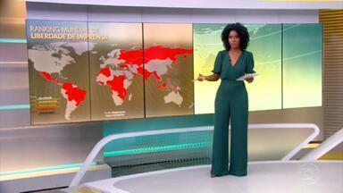 Brasil cai 4 posições em ranking mundial de liberdade de imprensa - ONG Repórteres Sem Fronteiras afirma que desde que o presidente Jair Bolsonaro assumiu o poder o trabalho da imprensa brasileira se tornou especialmente complexo.
