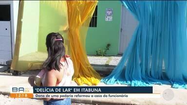 Dono de uma padaria reforma a casa da funcionária em Itabuna; confira - O imóvel ficou em reforma por um mês e foi entregue nesta segunda-feira (26) para a proprietária.