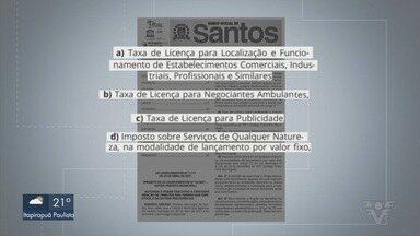 Santos concede isenção de tributos para comerciantes e ambulantes - Lei complementar foi publicada no Diário Oficial desta segunda-feira (26).