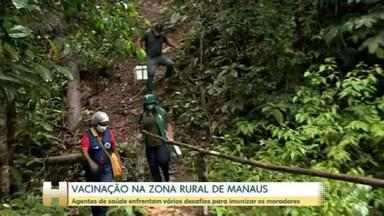 Agentes de saúde enfrentam os desafios da Floresta Amazônica para vacinar moradores da zona rural de Manaus - Nessa etapa, cerca de 1.500 moradores da área rural devem ser imunizados
