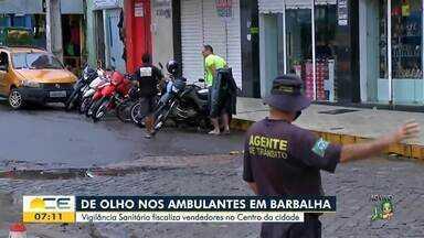 Vigilância Sanitária fiscaliza vendedores ambulantes no centro de Barbalha - Saiba mais em: g1.com.br/ce