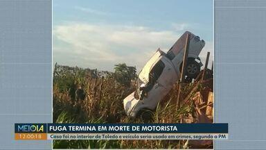 Motorista morre durante fuga da polícia em Toledo - Segundo a PM, o veículo seria usado em crimes na região.