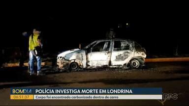 Corpo carbonizado é encontrado dentro de carro, em Londrina - Veículo estava em um bairro da Zona Norte de Londrina, em uma região com pouca movimentação de pessoas. Vítima não foi identificada pela polícia.
