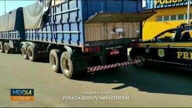 PRF apreende carga de cigarros avaliada em R$ 3 milhões em Guaíra - Mais de 600 mil maços estavam dentro de semirreboques.