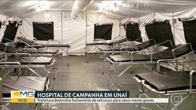 Hospital de campanha de Unaí será desativado - A justificativa da prefeitura é que há vagas na ala Covid do hospital do município