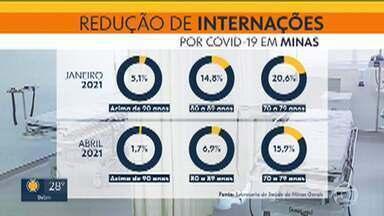 Número de mortes e internações de idosos por Covid-19 cai em Minas - Redução aconteceu depois do início da vacinação.