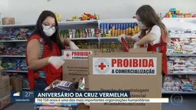 Cruz Vermelha completa 108 em SP - Artista pinta painel com rosto de quem participa da instituição