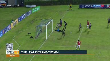 Tupi é goleado pelo Internacional no 1º jogo das oitavas da Copa do Brasil sub-20 - Galinho perde por 4 a 1 em casa e fica em situação difícil para jogo da volta, na próxima sexta-feira.