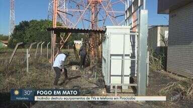 Veja estragos causados por incêndio em área de torres de retransmissão em Piracicaba - Fogo destruiu equipamentos, cabos elétricos e deixou ao menos um canal local fora do ar nesta quarta-feira (5).