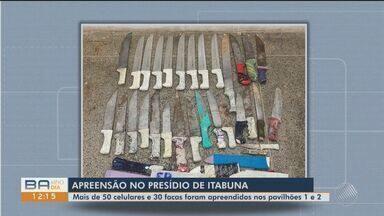 Dezenas de facas e celulares são apreendidos no Conjunto Penal de Itabuna - Mais de 50 celulares e 30 facas foram apreendidos nos pavilhões 1 e 2.