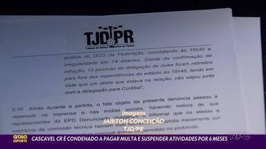 Cascavel CR é suspenso pelo TJD - O Cascavel CR foi considerado culpado de ter adulterado exames de covid-19 na partida contra o Athletico. O clube foi suspenso por seis meses pelo Tribunal de Justiça Desportiva do Paraná, mas ainda cabe recurso