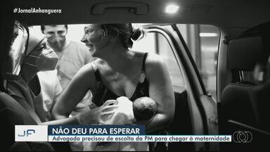 Advogada dá à luz dentro do carro, em Goiânia - Ela precisou de escolta da PM para chegar à maternidade.