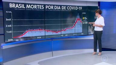 Veja os números de mortes, casos e da vacinação contra a covid nesta sexta-feira - Média móvel de mortes continua caindo e agora está 2.158 óbitos diários.