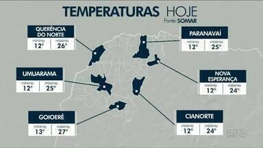 Fim de semana com temperaturas amenas no Noroeste - Temperaturas máximas não passam dos 30 graus.