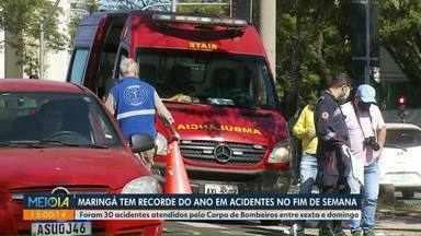 Maringá tem fim de semana com recorde de acidentes no ano - Foram 30 acidentes de trânsito entre sexta-feira e domingo.