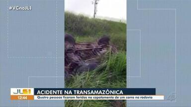 Quatro pessoas ficam feridas em acidente de trânsito na rodovia Transamazônica - Quatro pessoas ficam feridas em acidente de trânsito na rodovia Transamazônica.