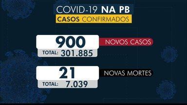 Paraíba tem 301.885 casos confirmados e 7.039 mortes por coronavírus - São 900 casos e 21 mortes confirmadas no boletim deste domingo (9).