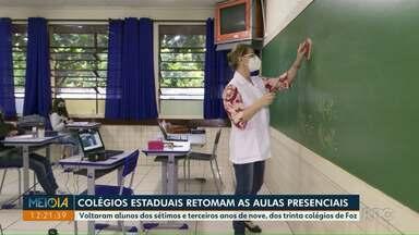 Colégios Estaduais retomam as aulas presenciais em Foz do Iguaçu - Voltaram alunos dos sétimos e terceiros anos de nove, dos trinta colégios de Foz.