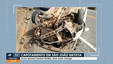 Carro capota em São João Batista e fere cinco pessoas, sendo duas crianças - Carro capota em São João Batista e fere cinco pessoas, sendo duas crianças