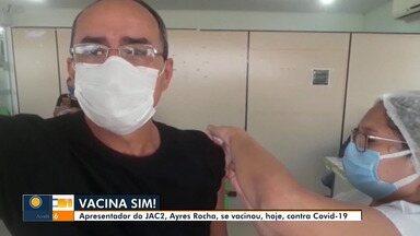 Jornalista Ayres Rocha registra momento em que toma vacina contra a Covid em Rio Branco - Jornalista Ayres Rocha registra momento em que toma vacina contra a Covid em Rio Branco