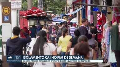 Isolamento social cai no fim de semana - Só 40% das pessoas ficaram em casa na capital no primeiro dia da nova regra de transição. E a partir de hoje o rodízio municipal de veículos de passeio começa a valer às 21h.