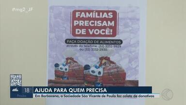 Sociedade São Vicente de Paulo realiza coleta de doações em Barbacena - Mais de três mil famílias passam fome ou enfrentam algum tipo de dificuldade no Campo das Vertentes. Saiba como ajudar.