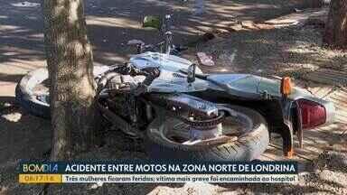 Câmera de segurança flagra acidente envolvendo duas motos, em Londrina - A motorista que fazia a manobra teve fraturas em uma perna e foi levada ao hospital.