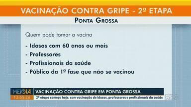 2ª etapa da campanha de vacinação contra gripe começa em Ponta Grossa - Idosos, professores, profissionais da saúde e público da 1ª fase podem tomar dose.
