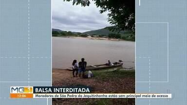Prefeitura de Jequitinhonha fala sobre reforma de balsa em comunidade rural - Moradores de São Pedro do Jequitinhonha estão há um cerca de um mês sem o transporte.