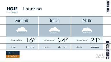 Após mais de um mês de seca, chuva chega em Londrina - A temperatura máxima deve chegar aos 22 graus.