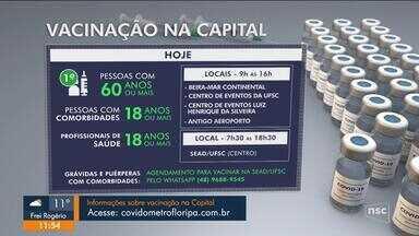 Doses contra Covid são aplicadas em pontos fixos e no Sead em Florianópolis - Doses contra Covid são aplicadas em pontos fixos e no Sead em Florianópolis