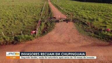 Invasores recuam em Chupinguaia após 10 meses de invasão - Segundo Sesdec, saída foi voluntária.