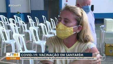 Começou nesta terça, 25, a vacinação para profissionais da educação infantil e especial - Veja a movimentação no Sinprosan em Santarém.