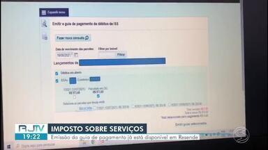 ISS: Emissão do guia de pagamento está disponível em Resende - Imposto Sobre Serviços deve ser pago por profissionais autônomos e prestadores de serviços que estão cadastrados no município.
