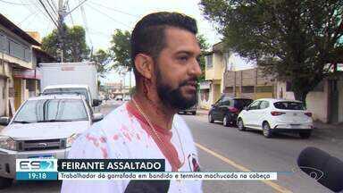 Feirante dá garrafada em criminoso e termina machucado na cabeça em Araçás, Vila Velha - Assista a seguir.
