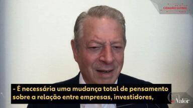Al Gore afirma que economia brasileira pode encolher 17% até 2048, se o país não combater aquecimento - Ex-presidente dos EUA avalia que setores público e privado precisam aumentar investimento em matrizes energéticas mais sustentáveis como a energia solar e eólica.