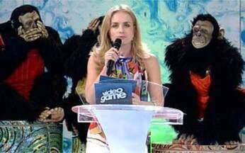 Mímica para atores de Malhação! - Angélica e Showpanzé divertem Mariana Rios, Rael Barja, Lisa Fávero e Helder Agostini no Video Game.