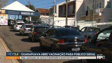 Guarapuava abre vacinação para público geral - Na sexta-feira (04), aplicação da vacina é destinada a quem tem 59 anos.