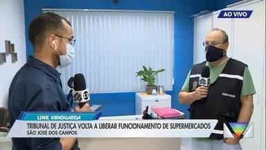 Justiça manda suspender decreto que impede abertura de supermercado em São José - Cidade está em queda de braço com comércios para fechamento.