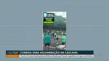 Corrida gera aglomeração em Cascavel - Evento foi autorizado pela prefeitura desde que fossem seguidas as regras sanitárias.