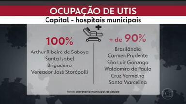 Ocupação de UTI para Covid em SP está acima de 80% - Quatro hospitais municipais da capital não têm mais leitos disponíveis.