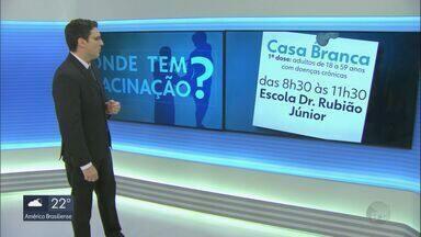 Onde tem vacinação: Casa Branca, Descalvado, Tapiratiba e Ribeirão Bonito - Veja os públicos, locais e horários.