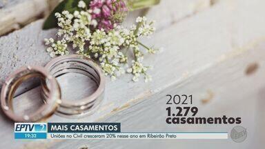 Uniões no Civil crescem 20% em Ribeirão Preto, SP, nos primeiros cinco meses de 2021 - Enquanto alguns casais desistiram de cerimônia por conta da pandemia, outros se adaptaram às restrições para celebrar.