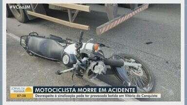 Motociclista morre após acidente em Vitória da Conquista, no interior da Bahia - Desrespeito a sinalização de trânsito pode ter provocado a batida.